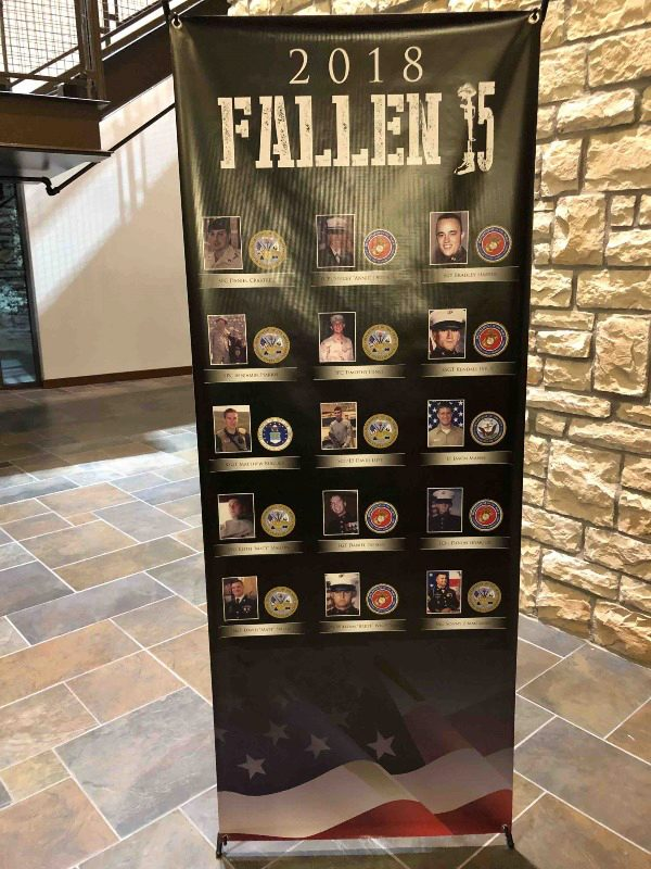 sign of fallen 15 honored soldiers
